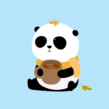 A cute cartoon giant panda with a scarf is sitting on the ground with a cup of coffee in the hands. Ilustração