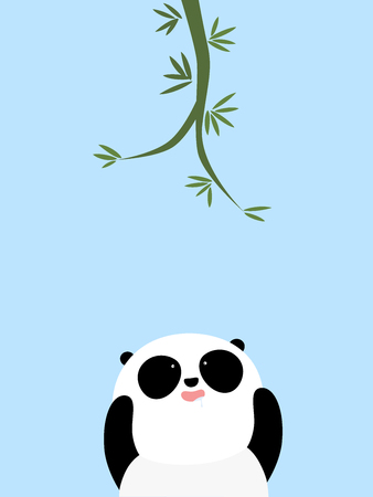 A cute cartoon giant panda is trying to reach the bamboo on the tree, drooling