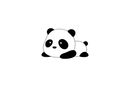 Cute funny cartoon giant panda bear lies on its stomach on the ground Ilustração
