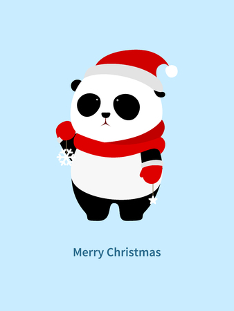 A cute cartoon giant panda with red scarf, red christmas hat and red gloves is holding snowflake and star decorations in the hands.