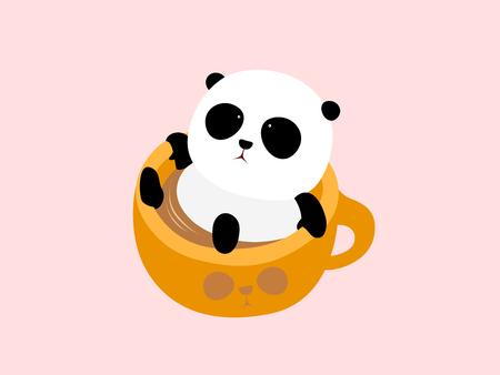 A cute cartoon giant panda lying in a cup of coffee, enjoying taking a bath in hot spring.