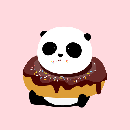 A cute cartoon giant panda is sitting on the ground, with a big dark chocolate and rum flavor doughnut  donut  bagel on his neck. Illustration