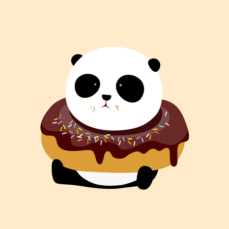 A cute cartoon giant panda is sitting on the ground, with a big dark chocolate and rum flavor doughnut  donut  bagel on his neck. Ilustração