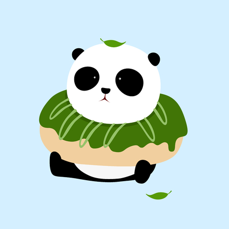 A cute cartoon giant panda is sitting on the ground, with a big matcha green tea doughnut  donut on his neck.