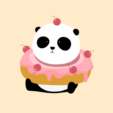 A cute cartoon giant panda is sitting on the ground, with a big pink strawberry  cherry flavor doughnut  donut  bagel on his neck. Illustration