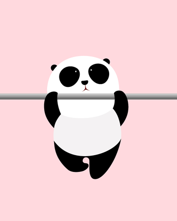 A cute cartoon giant panda is doing pull-up on a horizontal bar