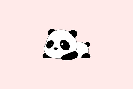 Cute funny cartoon giant panda bear lies on its stomach on the ground Illustration