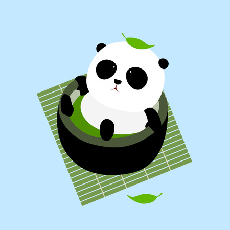 A cute cartoon giant panda lying in a cup of Japanese green tea / matcha on a mat, enjoying taking a bath in hot spring, a leaf of tea fall down on panda's head. Illustration