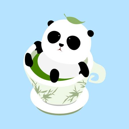 A cute cartoon giant panda lying in a cup of Chinese green tea on a mat, enjoying taking a bath in hot spring, a leaf of tea fall down on pandas head.