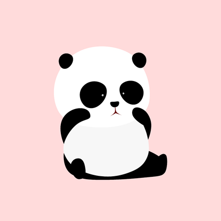A cute cartoon giant panda sits on the ground, crying, rubbing eyes, wiping the tear,  looking unhappy.  イラスト・ベクター素材