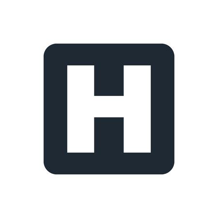 hospital sign: hospital sign icon Illustration