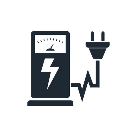 elektrizit u00e4t: Elektro-Auto Ladestation Zeichen-Icon-