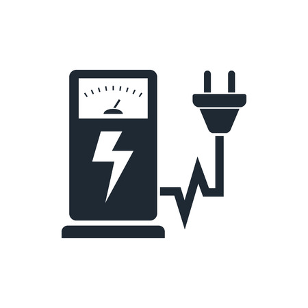 Electric car charging station sign icon Illustration