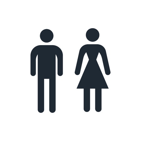 bathroom: man and woman icons, toilet sign Illustration