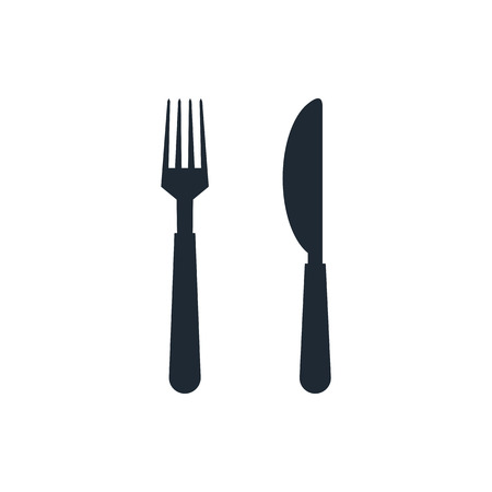 knife and fork: fork and knife icon Illustration
