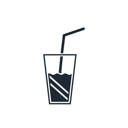 fresh juice: glass drink with tube icon Illustration