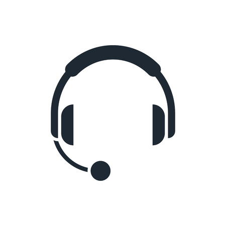 phone: headphones with microphone icon Illustration