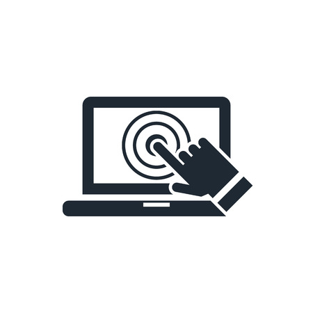 touch: laptop screen touch icon Illustration