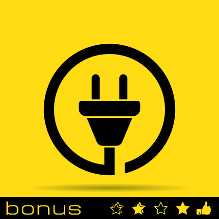 electricidad industrial: icono de enchufe alambre