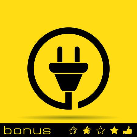 electricity icon: wire plug icon Illustration