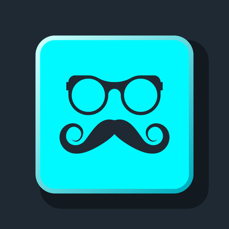 hipster mustache: hipster Mustache and Glasses Icon Illustration