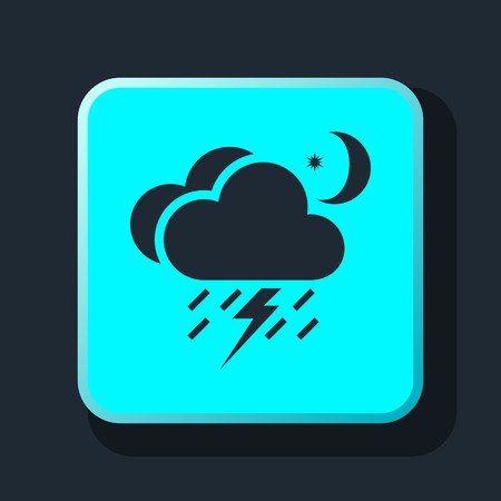 meteo: lightning rain cloud moon meteo icon