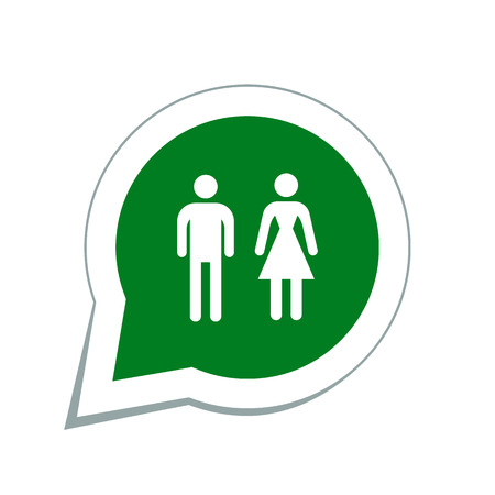 woman on toilet: man and woman icons, toilet sign Illustration