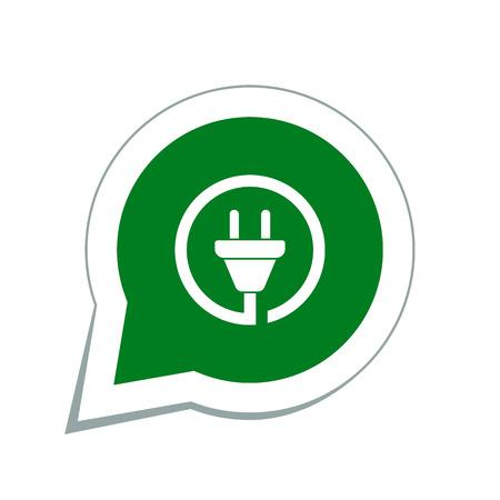 electricity pylon: wire plug icon Illustration