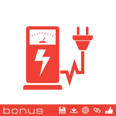 fueling pump: Electric car charging station sign icon Illustration