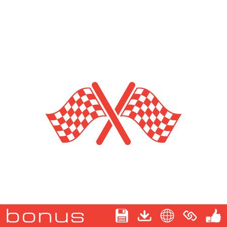 winning location: start finish cross flags icon