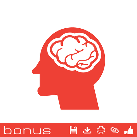 invent clever: head with brain icon Illustration