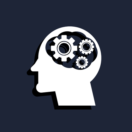invent clever: head with cog settings icon