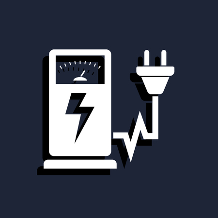 recharging: Electric car charging station sign icon Illustration