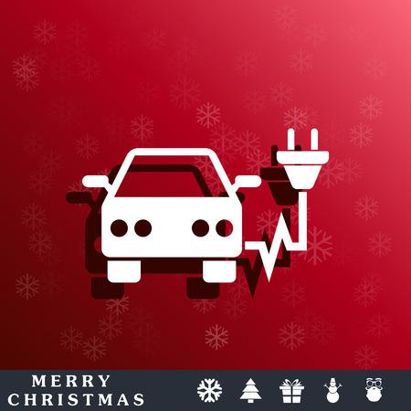 globalwarming: electric car icon Illustration