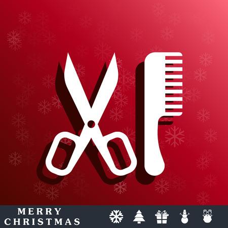 comb: Comb and scissors icon