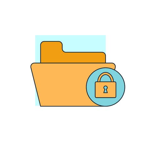 folder lock: lock folder icon Illustration