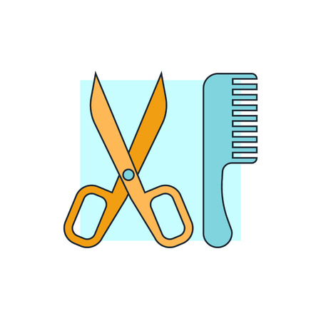 scissors comb: Comb and scissors icon