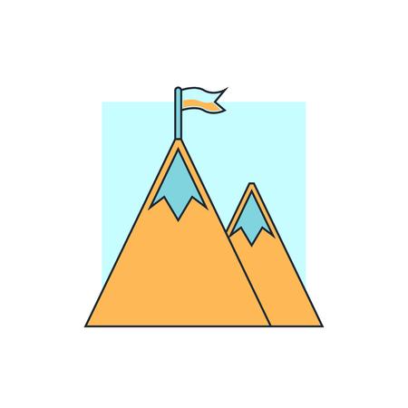 mountain peak: Mountain peak with flag icon