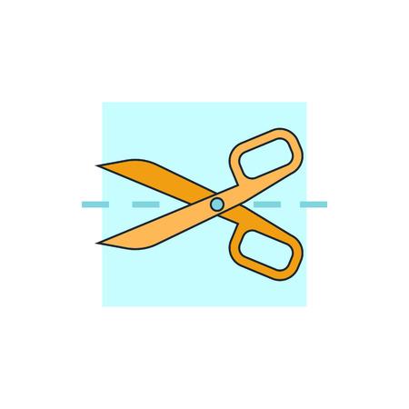 tijeras: tijeras con líneas de corte icono Vectores