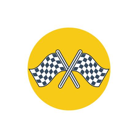 bandera carreras: acabado banderas cruzadas icono comenzar Vectores