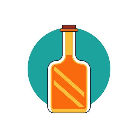 alcohol series: glass bottle icon Illustration