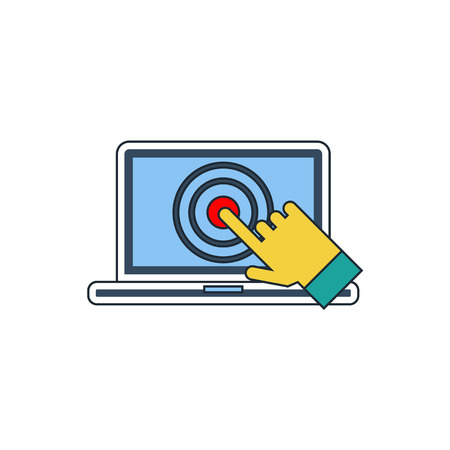 multi touch: laptop screen touch icon Illustration