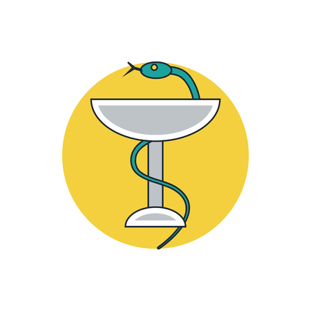 caduceus snake with stick: medical sign icon
