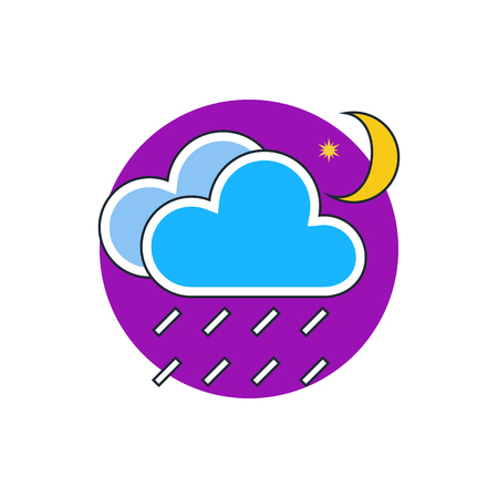 meteo: rain cloud moon meteo icon
