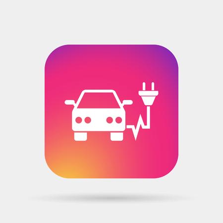 globalwarming: electro car icon Illustration