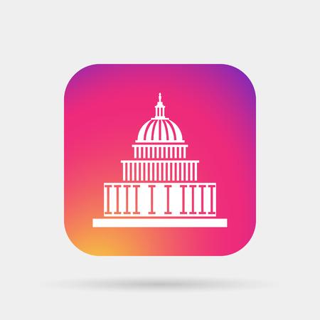 district of columbia: capitol building landmark icon Illustration