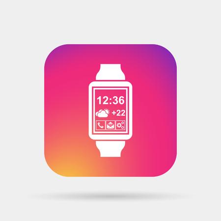 chronograph: smart watch, fitness taime icon Illustration