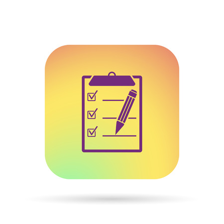 writing pad: clipboard, list icon Illustration