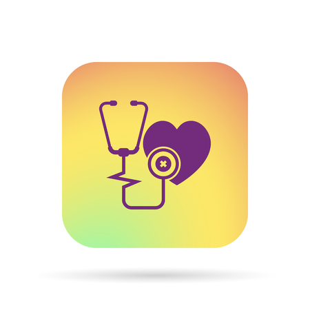 estetoscopio corazon: Icono del corazón de la cardiología estetoscopio