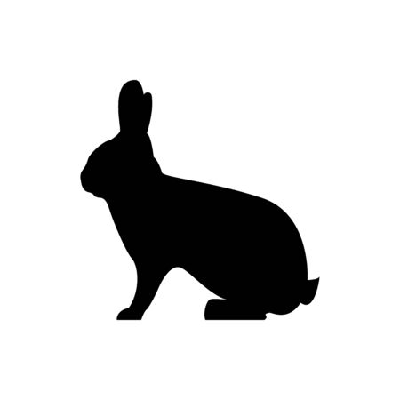 Vector hare silhouette view side for retro logos, emblems, badges, labels template vintage design element. Isolated on white background Illusztráció
